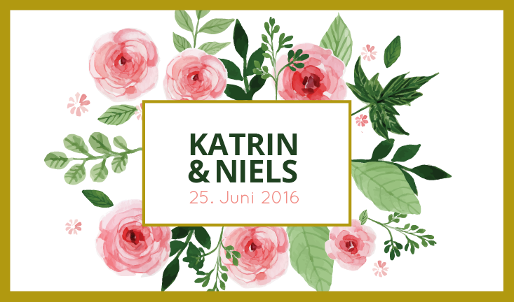 Hochzeit Etikett mit Blumen