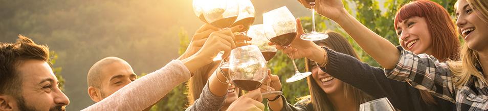 Erwachsen sitzen draußen und trinken Wein